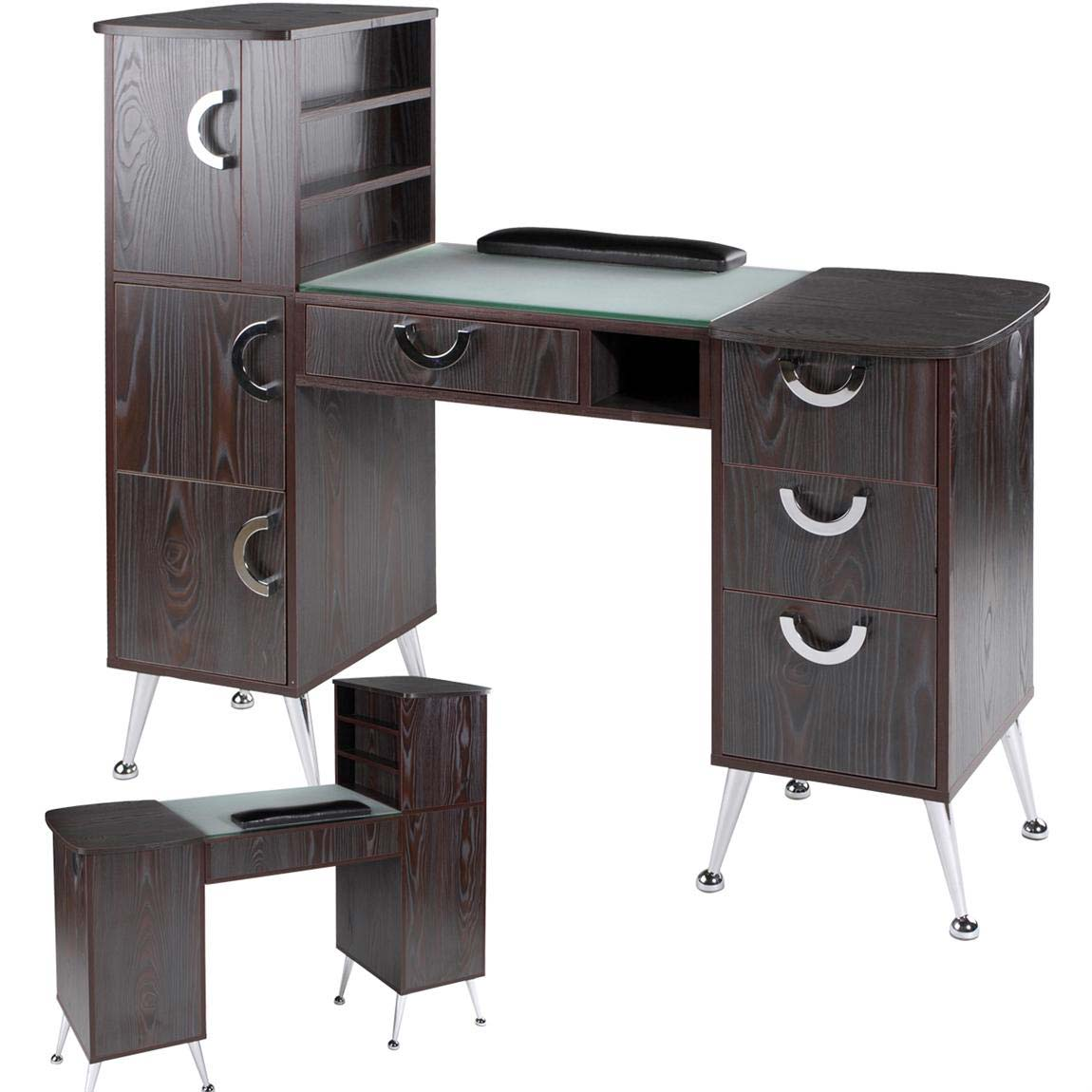 Eurostyle manicure table retro design in rich ebony for Nail table and chairs