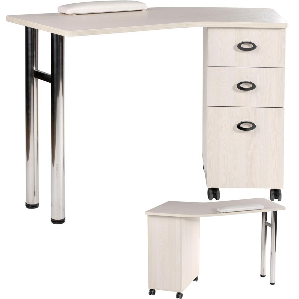 Eurostyle manicure table mkg 762 ivory for Mobile manicure table