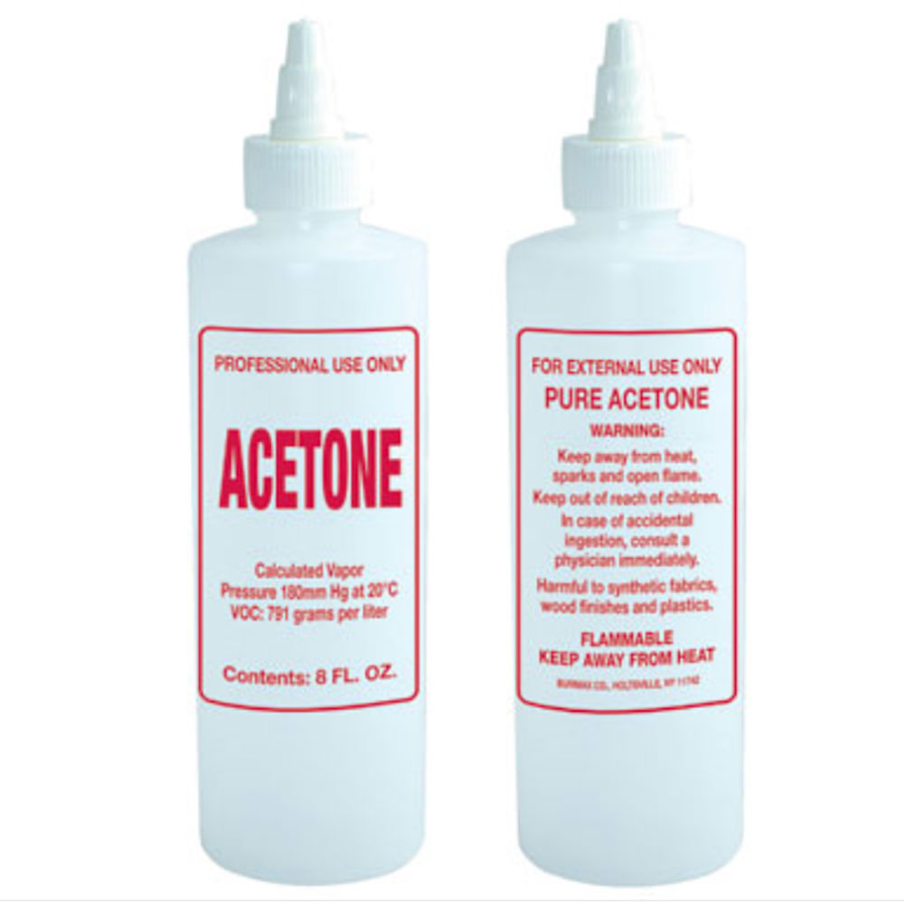 Empty Plastic Bottle Preprinted Acetone Remover 8 Oz