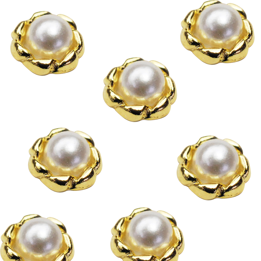 Japanese 3D Nail Charms | Gold Ring with Pearl