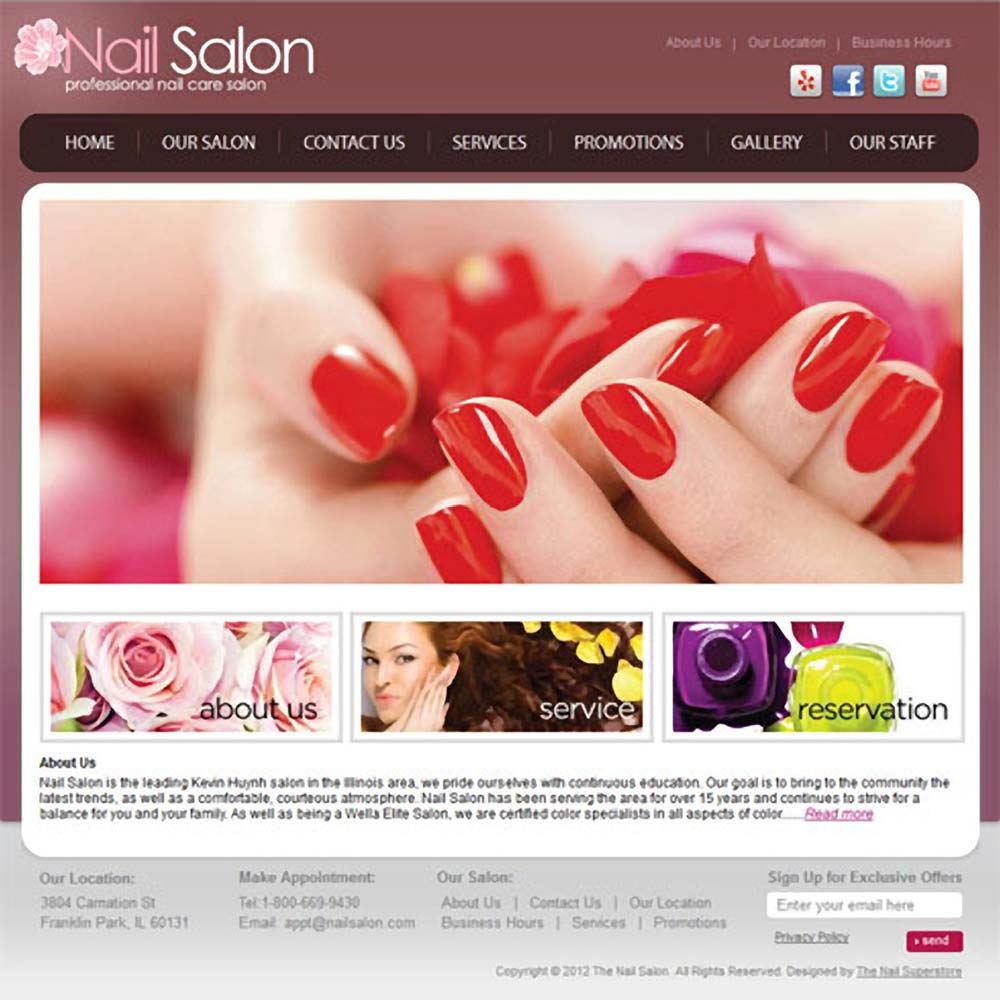 sakura salon website template set up 1 year hosting