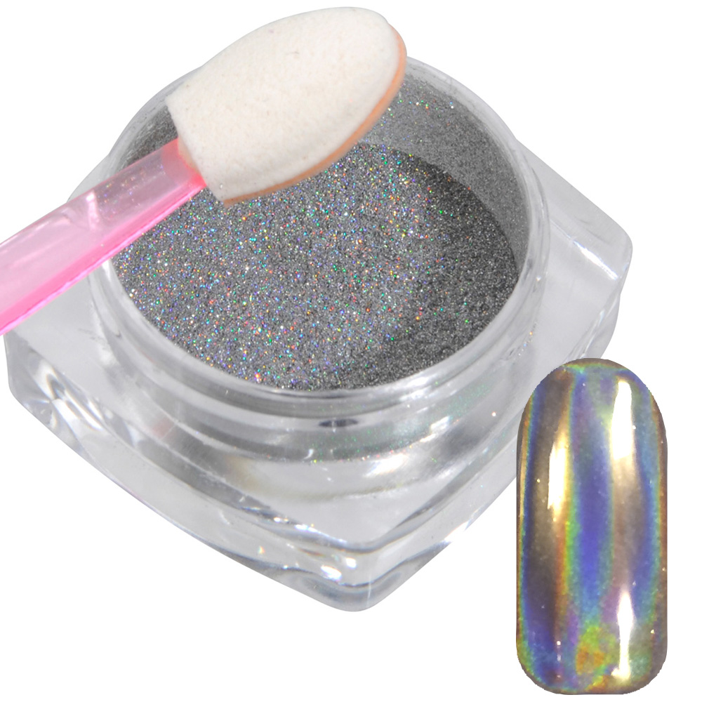 Silver Holographic Nail Powder   Pigment for Holo Chrome Effect