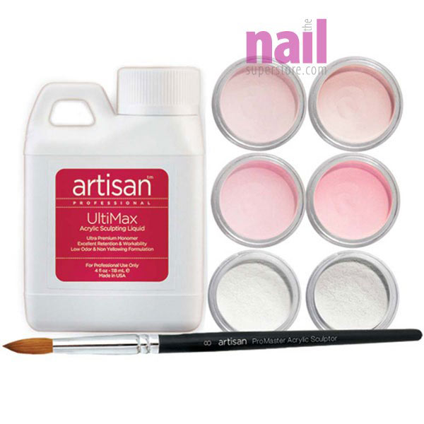 Artisan Acrylic Nail Kit | 8 pcs Flawless Pink & White French Manicure Kit