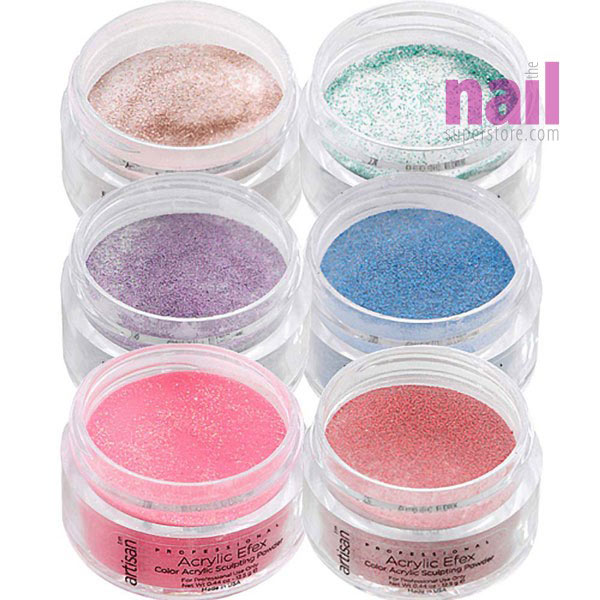 Colored Acrylic Nail Powder 6 Pcs Metallic Glitters Collection