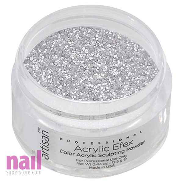 Artisan Colored Acrylic Nail Powder | Professional Size - Silver Shimmer