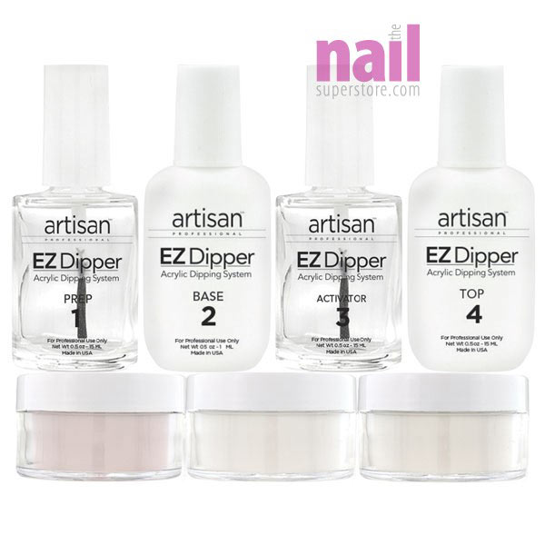 Artisan EZ Dipper Nail Dipping System - 7pcs Starter Kit | Stronger, Thinner, Natural