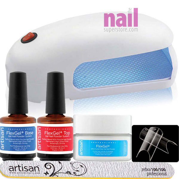 Artisan FlexGel+ Powder Gel 5-pcs + 9W Lamp | Strong - Easy Application