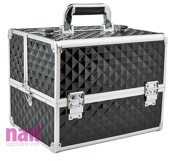 Black Large Cosmetic Train Case | Storage & Organizer for Nail Tools & Cosmetics