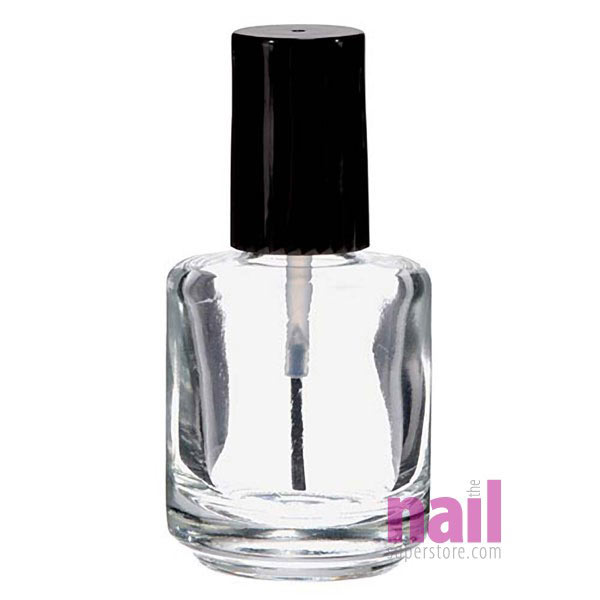Empty Clear Nail Polish Bottle w/Cap and Brush | Refills Nail Polish,  Cuticle Oil, Top Coat - 0.5 oz (14.79 ml)