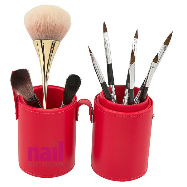 Deluxe Leather Cosmetic / Nail Brush Holder | Red