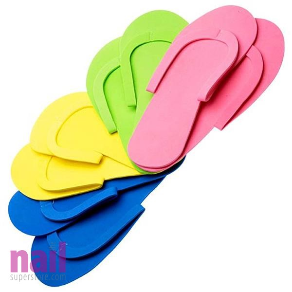 Sewed Pedicure Slippers *216 PAIRS* | Mixed Colors - Premium Quality - Reusable