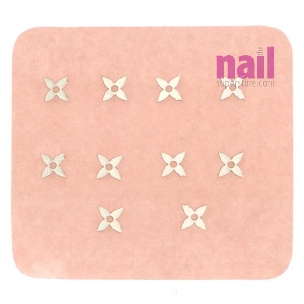 Japanese 3D Nail Charms | Silver Flower