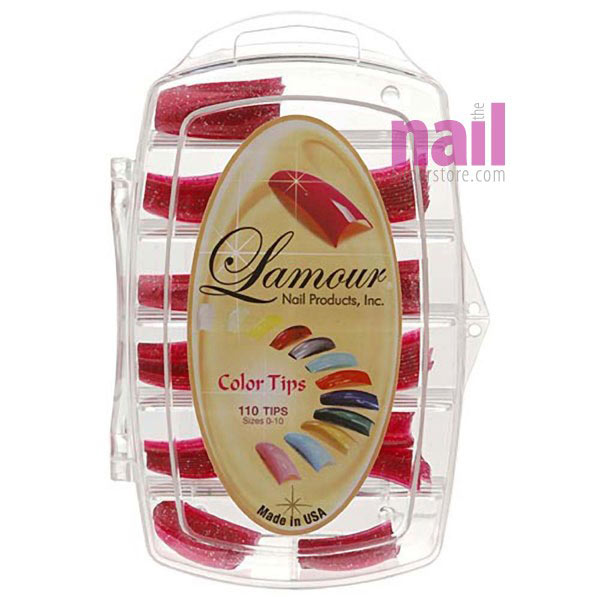 Lamour Colored Nail Tips | Glitter Red - L25