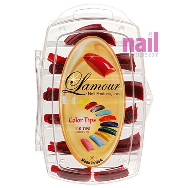 Lamour Colored Nail Tips   Metallic Red - L10