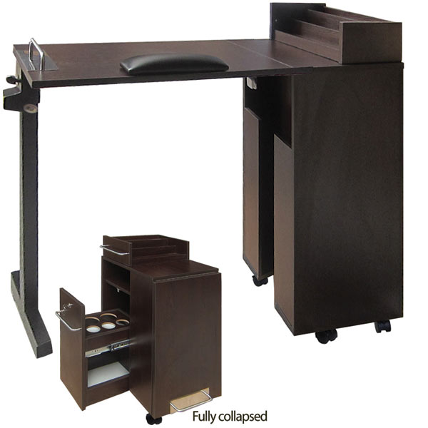 EuroStyle Portable Manicure Table | Foldable Nail Table - Dark Wood