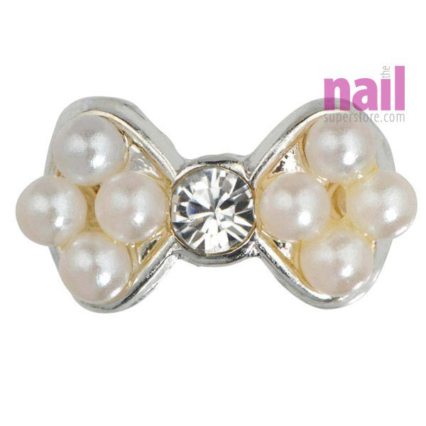 Japanese 3D Nail Art Jewelry | Pearl Bow With Diamond