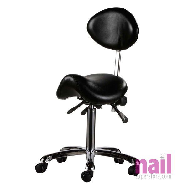 EuroStyle Saddle Chair for Nail Technician | Ultimate Ergonomic - Black