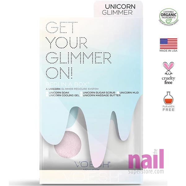 Voesh Glimmer Spa Pedicure 5-Step Packets   Unicorn