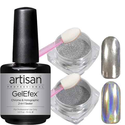 Mirror Chrome Nail Powder + Holographic Pigment + 2-in-1 Top & Base Coat | Showstopper Trio