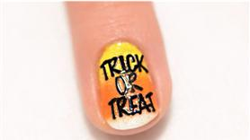 Trick or Treat Candy Corn Halloween Nail Art Design