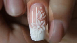 Using Pink and White Acrylic Powder To Create Wedding Nail Art Design