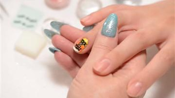 Halloween Nail Art - Black Trick or Treat Charms in Yellow Pumpkin Polish Effects