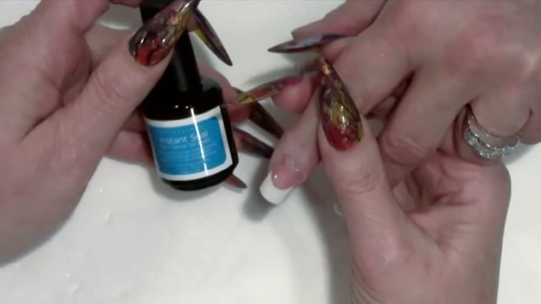 Artisan Builder Gel Nail Overlay on French Nail Tips Part 5